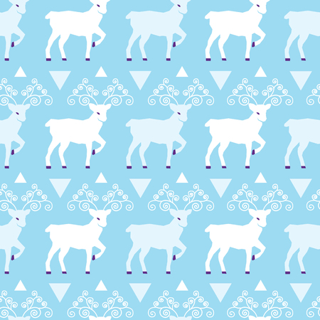 Blue winter reindeer folk vector seamless pattern. Great for winter holidays traditional wallpaper, backgrounds, gifts, packaging design projects. Surface pattern design. Stock Photo