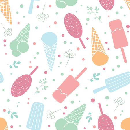 Yum ice cream and sprinkles seamless pattern. Great for yummy summer dessert wallpaper, backgrounds, packaging, fabric, scrapbooking, and giftwrap projects. Surface pattern design.