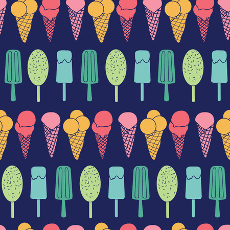 Navy ice cream stripes seamless pattern. Great for yummy summer dessert wallpaper, backgrounds, packaging, fabric, scrapbooking, and giftwrap projects. Surface pattern design.