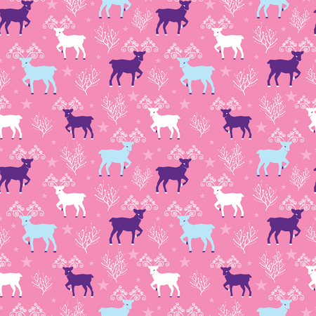 Pink winter reindeer folk vector seamless pattern. Great for winter holidays traditional wallpaper, backgrounds, gifts, packaging design projects. Surface pattern design. Stock Photo