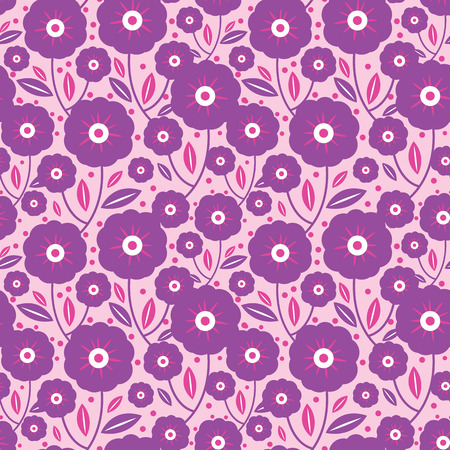Purple flowers texture vector seamless pattern. Great for spring and summer wallpaper, backgrounds, invitations, packaging design projects. Surface pattern design. Ilustrace