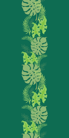 Tropical green leaves seamless border frame. Great for summer exotic wallpaper, backgrounds, packaging, fabric, and giftwrap projects. Surface pattern design. Stock Photo