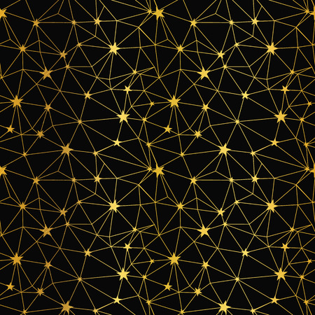 Black and gold stars network seamless pattern. Great for space and holiday inspired wallpaper, backgrounds, invitations, packaging design projects. Surface pattern design.