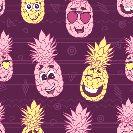 Smiling pineapple faces seamless repeat pattern. Great for tropical summer theme wallpaper, backgrounds, packaging, fabric, scrapbooking, and giftwrap projects. Surface pattern design. Stock Photo