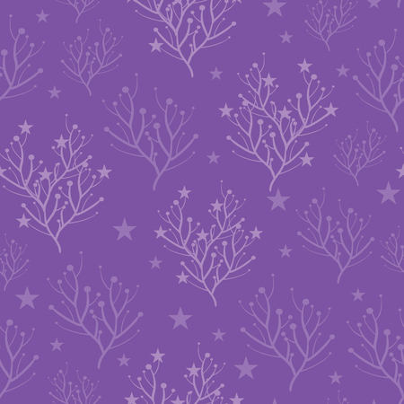 Purple trees and stars texture vector pattern. Great for winter holidays fabric, wallpaper, backgrounds, invitations, packaging design projects. Surface pattern design.