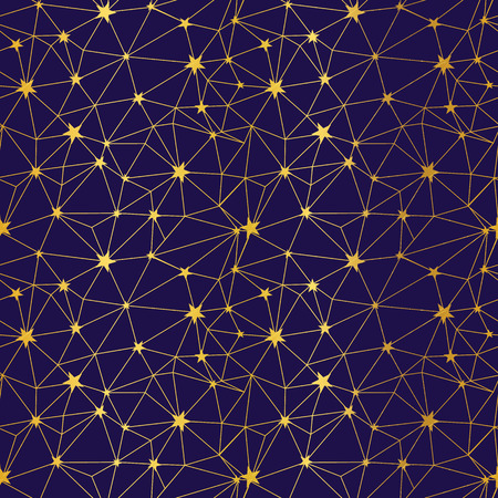 Navy and gold stars network seamless pattern. Great for space and holiday inspired wallpaper, backgrounds, invitations, packaging design projects. Surface pattern design. Stock Photo