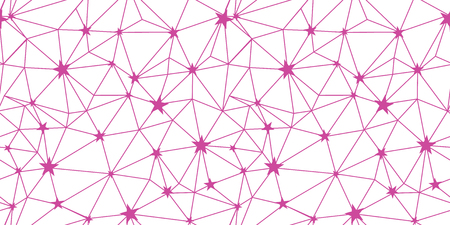 Pink stars network vector seamless pattern. Great for space and holiday inspired wallpaper, backgrounds, invitations, packaging design projects. Surface pattern design.
