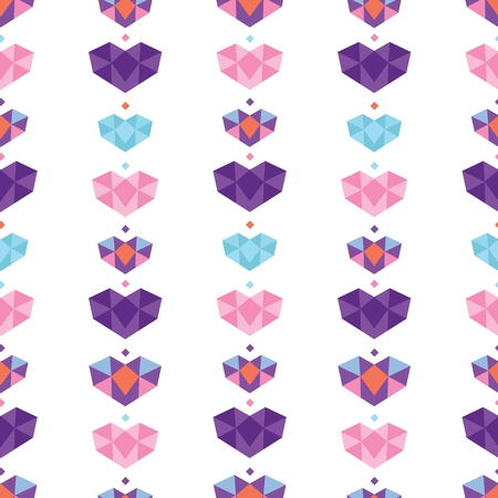 Colorful geometric hearts seamless pattern. Great for a Valentines Day, wedding, anniversary or an event celebration invitation or decor. Surface pattern design. Stock Photo