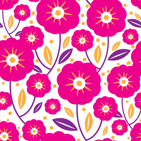 Pink folk flowers and leaves seamless pattern. Great for classic product design, fabric, wallpaper, backgrounds, invitations, packaging design projects. Surface pattern design.