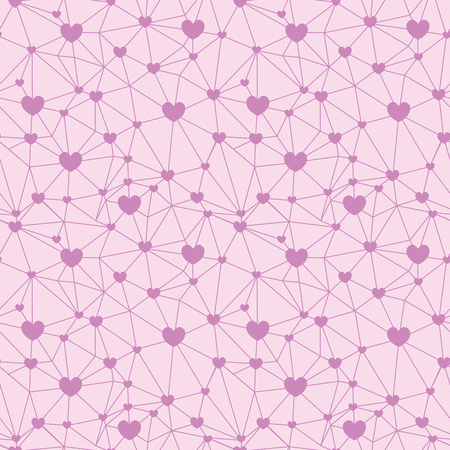 Pastel pink web of hearts seamless repeat pattern. Great for Valentines Day or wedding invitations, cards, backgrounds, gifts, packaging design projects. Surface pattern design.