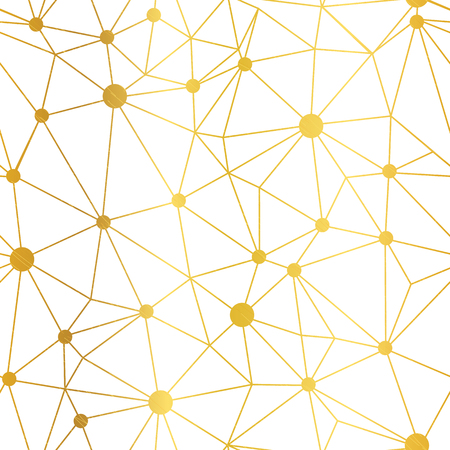 Gold white dots network vector seamless pattern. Great for technology inspired wallpaper, backgrounds, invitations, packaging design projects. Surface pattern design. Stock Photo