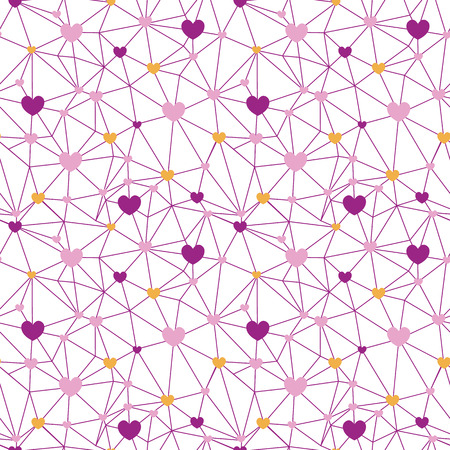 Pink web of hearts seamless repeat pattern. Great for Valentines Day or wedding invitations, cards, backgrounds, gifts, packaging design projects. Surface pattern design.