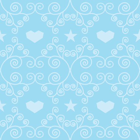 Blue winter hearts folk vector seamless pattern. Great for winter holidays traditional wallpaper, backgrounds, gifts, packaging design projects. Surface pattern design. Ilustrace