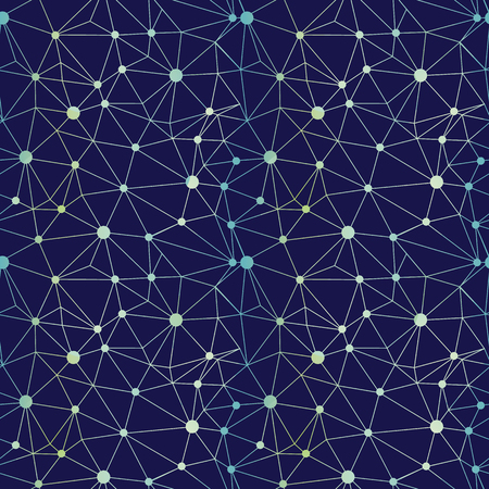 Navy blue gradient dots network seamless pattern. Great for technology inspired wallpaper, backgrounds, invitations, packaging design projects. Surface pattern design.
