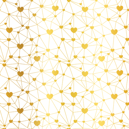 Golden web of hearts seamless repeat pattern. Great for Valentines Day or wedding invitations, cards, backgrounds, gifts, packaging design projects. Surface pattern design. Ilustrace