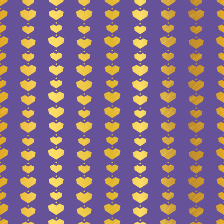 Golden purple geometric hearts seamless pattern. Great for Valentines Day holiday cards, backgrounds, invitations, packaging design projects. Surface pattern design. Stock Photo