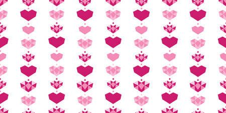 Pink white geometric hearts seamless pattern. Great for Valentines Day holiday cards, backgrounds, invitations, packaging design projects. Surface pattern design.