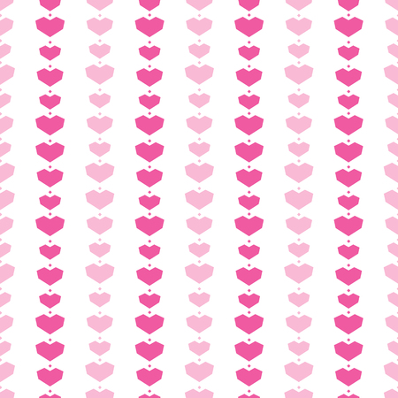 Pink geometric hearts stripes seamless pattern. Great for Valentines Day holiday cards, backgrounds, invitations, packaging design projects. Surface pattern design. Stock Photo
