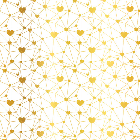 Golden web of hearts seamless repeat pattern. Great for Valentines Day or wedding invitations, cards, backgrounds, gifts, packaging design projects. Surface pattern design. Stock Photo