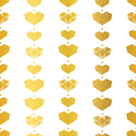 Golden yellow geometric hearts seamless pattern. Great for Valentines Day holiday cards, backgrounds, invitations, packaging design projects. Surface pattern design. Stock Photo