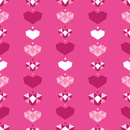 Pink geometric hearts seamless pattern. Great for Valentines Day holiday cards, backgrounds, invitations, packaging design projects. Surface pattern design.
