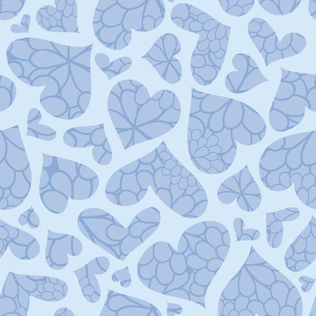 Blue textured hearts vector seamless pattern. Great for Valentines Day holiday cards, backgrounds, invitations, packaging design projects. Surface pattern design. Stock Photo