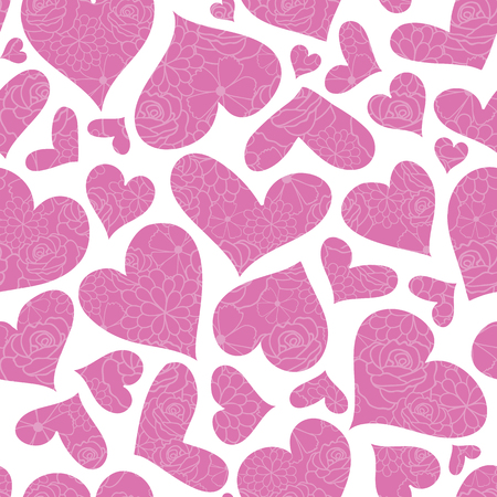Pink floral hearts vector seamless pattern. Great for Valentines Day holiday cards, backgrounds, invitations, packaging design projects. Surface pattern design. Stock Photo