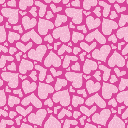 Pink textured hearts vector seamless pattern. Great for Valentines Day holiday cards, backgrounds, invitations, packaging design projects. Surface pattern design.