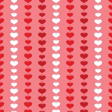 Red geometric hearts stripes seamless pattern. Great for Valentines Day holiday cards, backgrounds, invitations, packaging design projects. Surface pattern design.