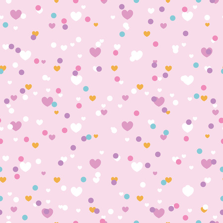 Cute confetti hearts seamless repeat pattern. Great for Valentines Day or wedding invitations, cards, backgrounds, gifts, packaging design projects. Surface pattern design.