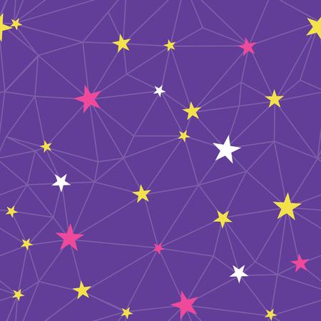 Purple stars network vector seamless pattern.