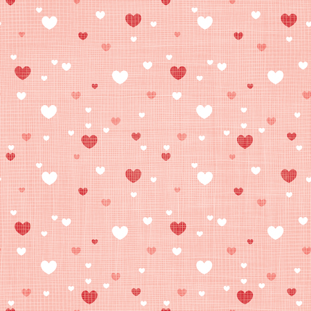 Coral fabric textured hearts seamless pattern print Ilustrace