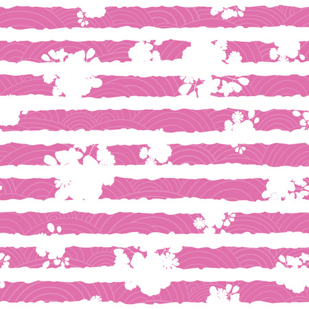 Pink and white floral textured stripes pattern