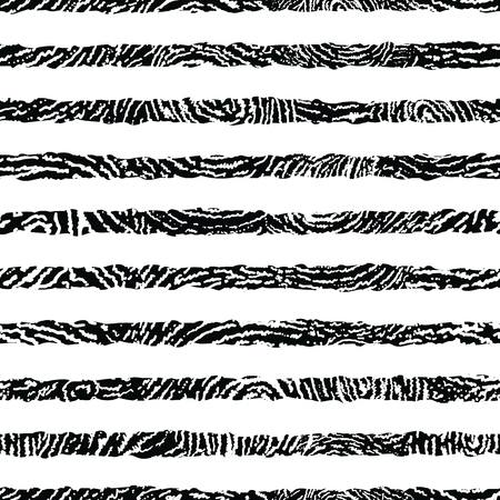 Black and white textured stripes seamless pattern Ilustrace