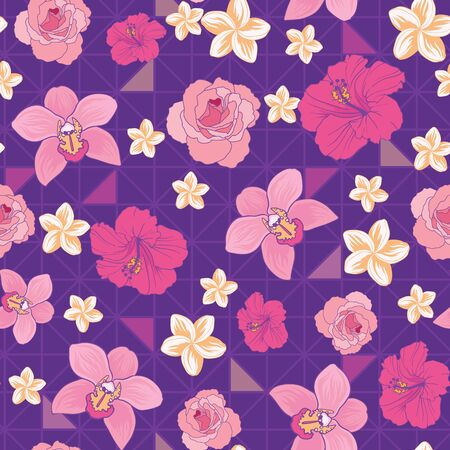 Flowers and triangles seamless pattern print