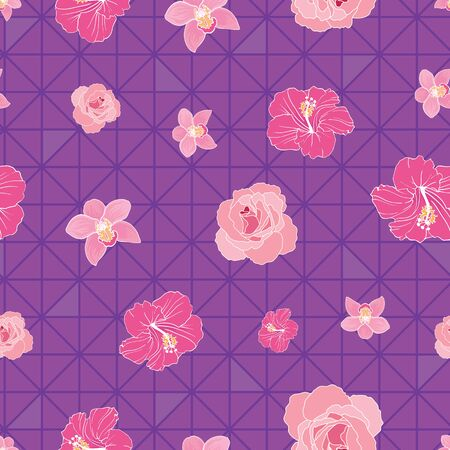 Flowers on triangles on seamless pattern print