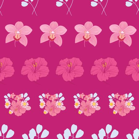 Tropical flowers stripes seamless pattern print