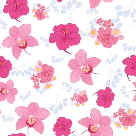 Tropical flowers seamless pattern print