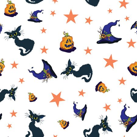 Fun halloween cats and pumpkins repeat pattern.