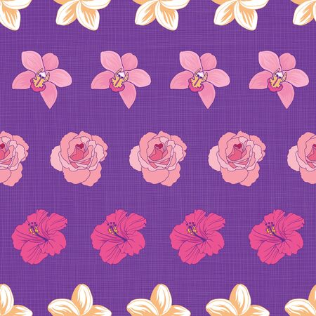 Striped tropical flowers on seamless pattern print