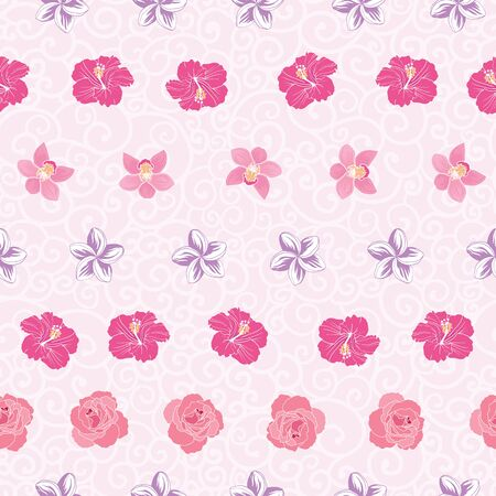 Pink tropical flowers stripes repeat pattern print