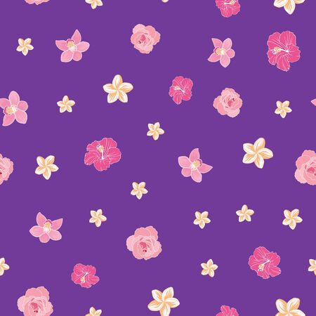 Tiny ditsy tropical flowers seamless pattern print Ilustrace
