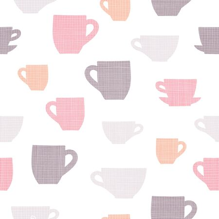 Simple linen textured cups vector repeat pattern