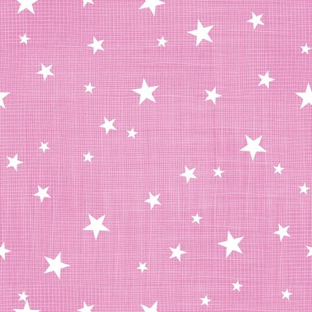 Pink tiny stars linen textured repeat pattern Ilustrace