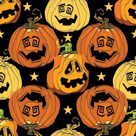 Orange Halloween pumpkins smiling repeat pattern. 向量圖像