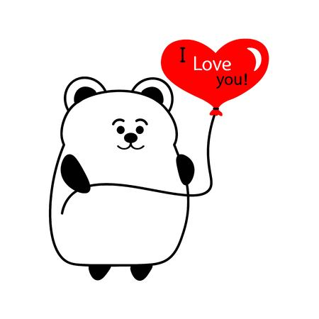 Cute bear with a red balloon in the form of a heart. the writing I love you. Postcard, Valentine, illustration.