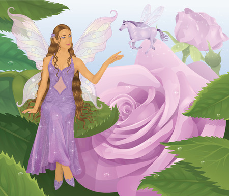 Violet fairy sitting on a leaf and reaching for flying magic horse. Pink roses on a background.