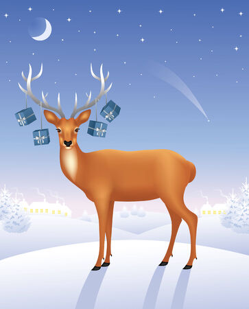 Deer standing on a hill. Presents hanging on the antlers. Vector