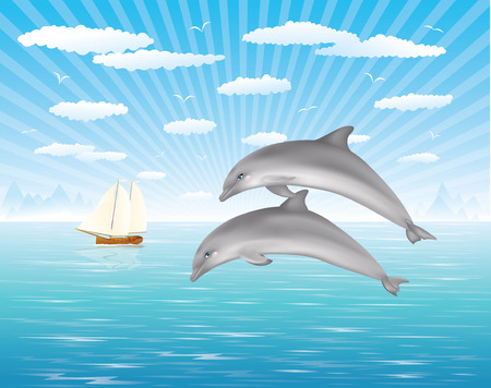 Two dolphins jumping out of water in the ocean.  Sailing  ship on the background Stock Vector - 6015075