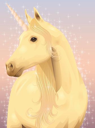 Portrait of a beautiful magic unicorn. Ilustração